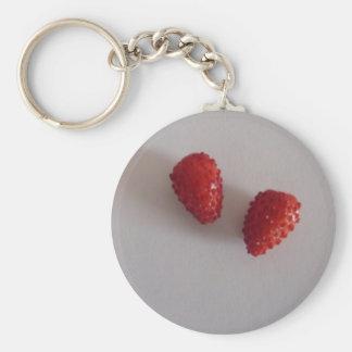 Strawberries as heart keychain
