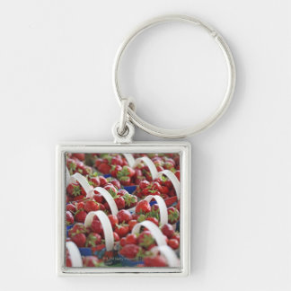 Strawberries at a market stall keychain