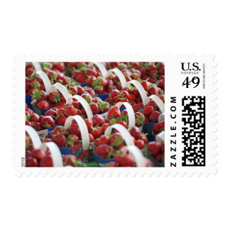 Strawberries at a market stall postage