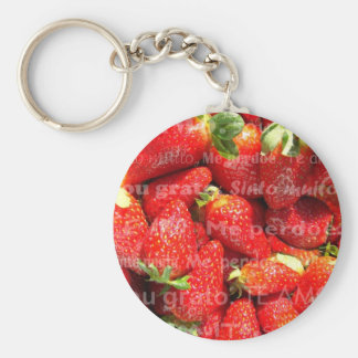 Strawberries Basic Round Button Keychain