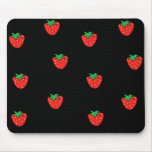 Strawberries Black Mouse Pad