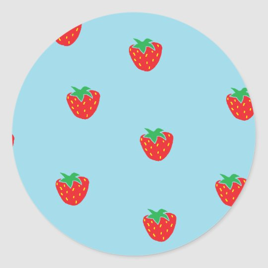Strawberries Blue Classic Round Sticker