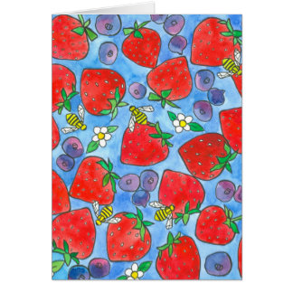 Strawberries Blueberries Bees Thank You Card