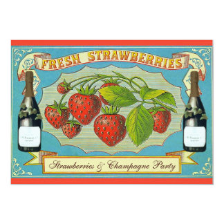 """Strawberries & Champagne Party 5"""" X 7"""" Invitation Card"""