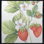 "Strawberries Cloth Napkin<br><div class=""desc"">Watercolour painting of a strawberry plant with fruit,  flowers and leaves.</div>"