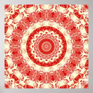 Strawberries & Cream Kaleidoscope Poster