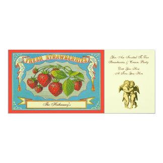 Strawberries & Cream Party 4x9.25 Paper Invitation Card