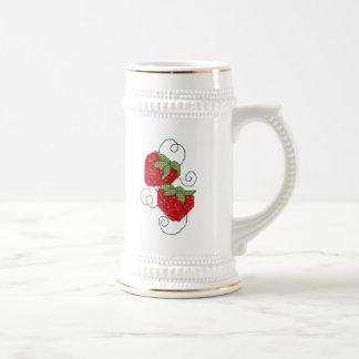 Strawberries Cross Stitch Beer Stein