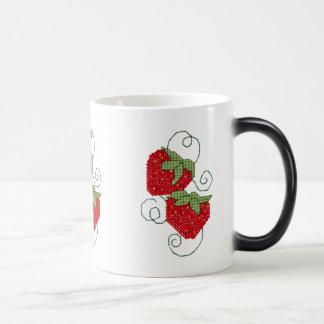 Strawberries Cross Stitch Magic Mug