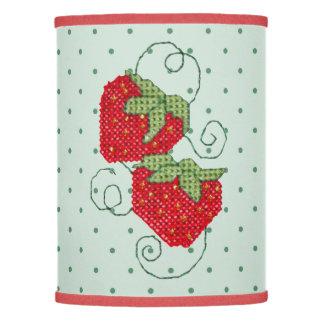 Strawberries Cross Stitch on Green Dots Lamp Shade