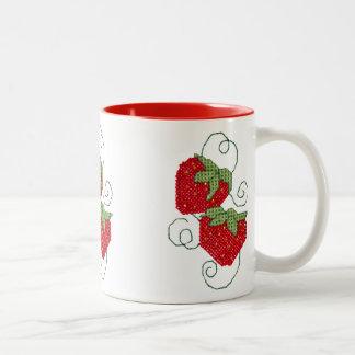 Strawberries Cross Stitch Two-Tone Coffee Mug