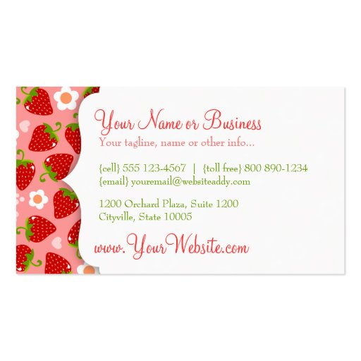 Strawberries Custom Business Calling Card Business Cards (back side)