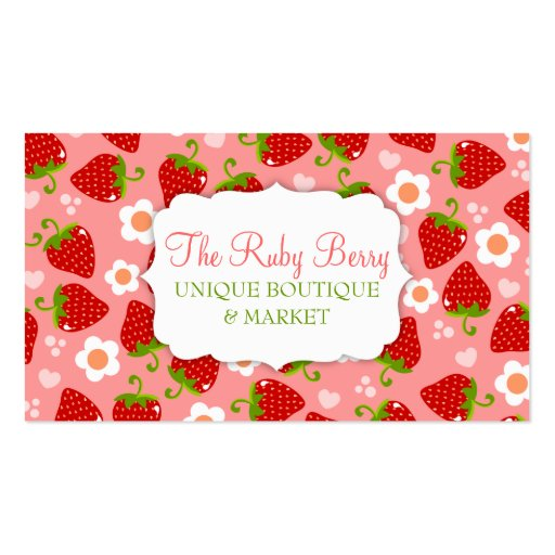 Strawberries Custom Business Calling Card Business Cards (front side)
