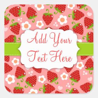 Strawberries Custom Sticker Label