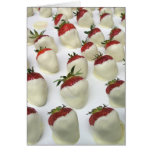 Strawberries dipped in white chocolate greeting card
