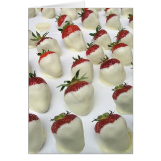 Strawberries dipped in white chocolate cards