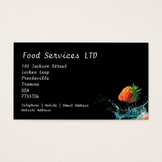 Strawberries dropped into water with splashes business card