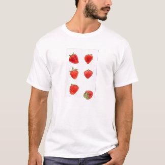 Strawberries Falling grey stripes Mens T-shirt