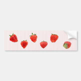Strawberries Falling pink stripes Bumper Sticker