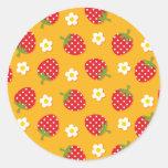 Strawberries & Flowers Classic Round Sticker