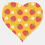 Strawberries & Flowers Heart Sticker