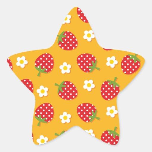 Strawberries & Flowers Star Sticker
