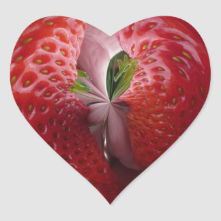 Strawberries from the inside heart sticker