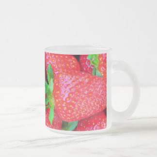 Strawberries frosted glass mug