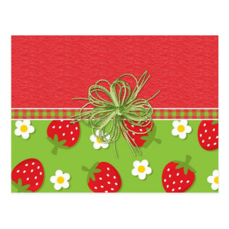 Strawberries Green Bow Postcard