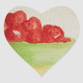 Strawberries in a green bowl heart sticker