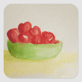 Strawberries in a green bowl square sticker