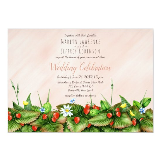 Strawberries in meadow wildflowers country wedding invitation