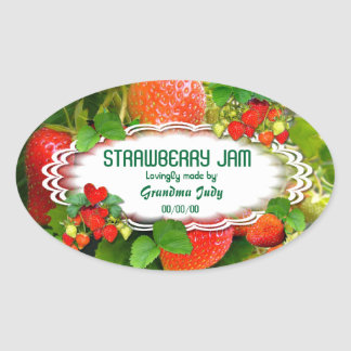 Strawberries Jam ~ Oval Sticker #3