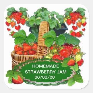 Strawberries Jam ~ Square Sticker
