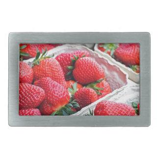 Strawberries market rectangular belt buckle