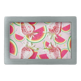 Strawberries Melon Fiesta Pattern Rectangular Belt Buckle