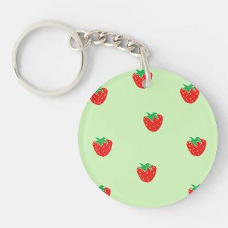 Strawberries Mint Green Keychain