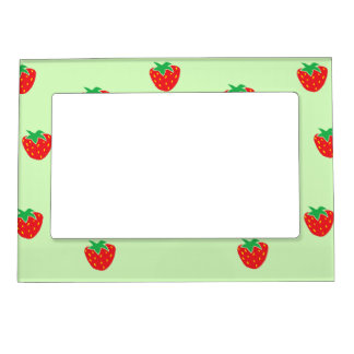 Strawberries Mint Green Magnetic Photo Frame