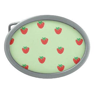 Strawberries Mint Green Oval Belt Buckle