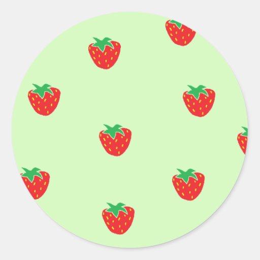 Strawberries Mint Green Round Stickers