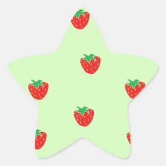 Strawberries Mint Green Star Sticker