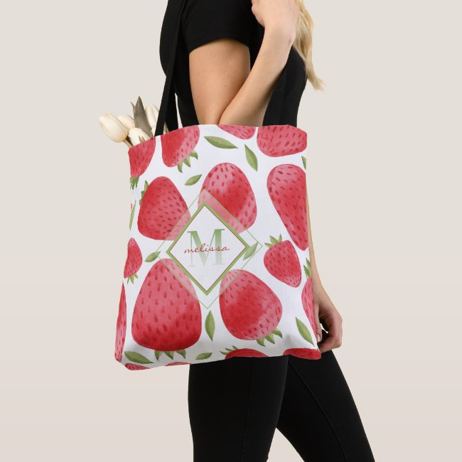 Strawberries & Ombre Monogram + Red & Green