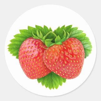 Strawberries on a leaf classic round sticker