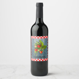 Strawberries on Denim and Gingham Look Background Wine Label
