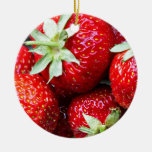 Strawberries Double-Sided Ceramic Round Christmas Ornament