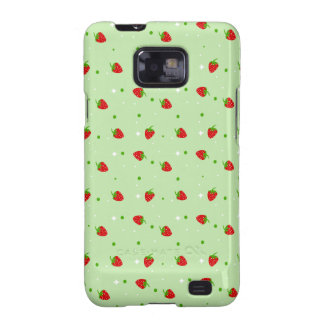 Strawberries Pattern on Green Background Samsung Galaxy S Covers