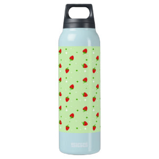 Strawberries pattern on Green Background Insulated Water Bottle