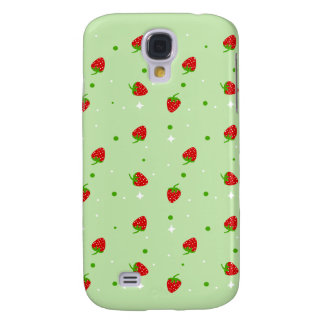Strawberries Pattern with Green Background Galaxy S4 Cover