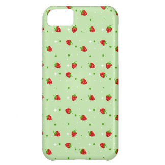 Strawberries Pattern with Green Background iPhone 5C Cases