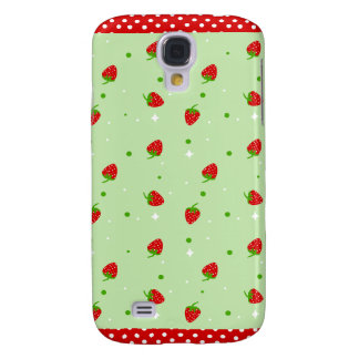 Strawberries Pattern with Green Background Galaxy S4 Cases